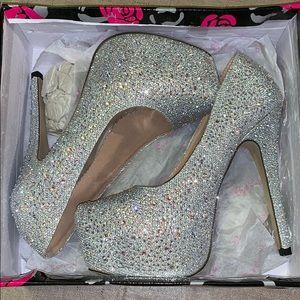 Rhinestone covered platform heels